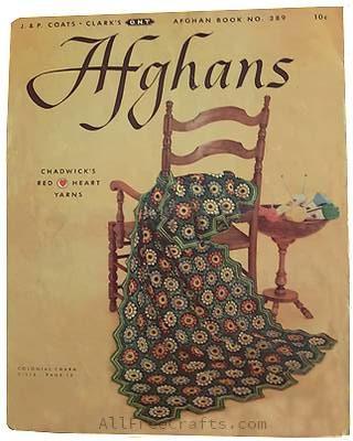 Original back cover of J&P Coats Clark Afghan Book No. 289
