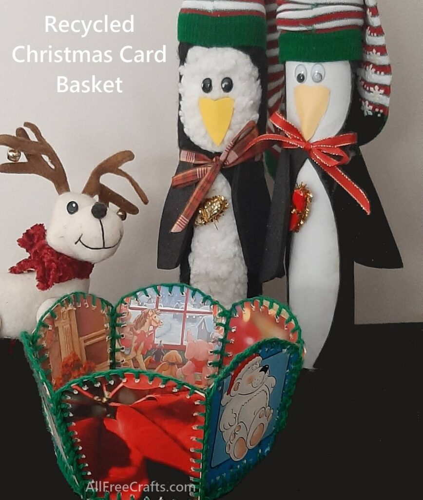 Some free Christmas craft projects - paper towel penquins and recycled Christmas card basket