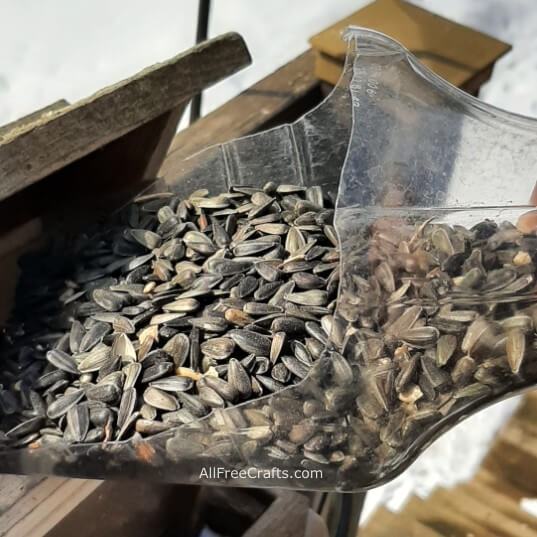 recycled bird seed scoop in use