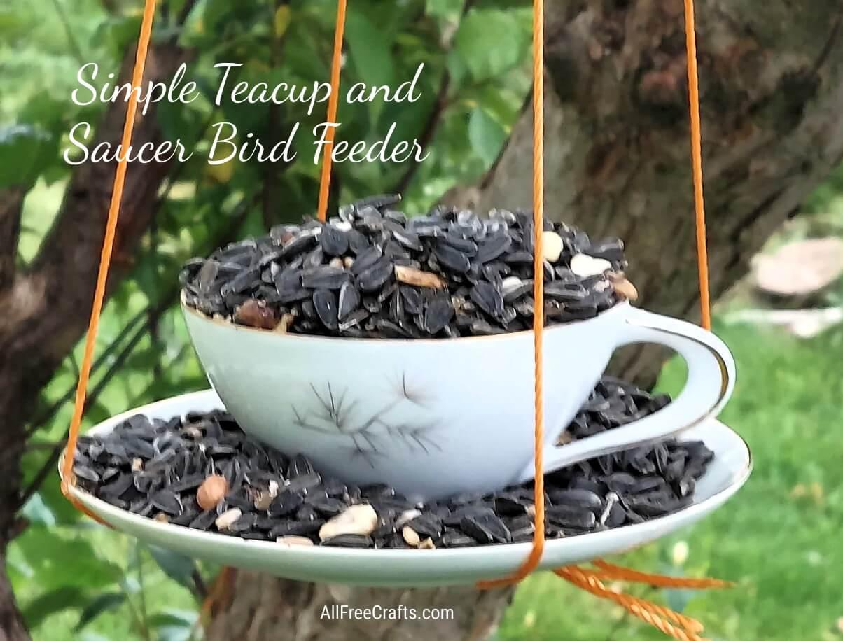 simple teacup and saucer bird feeder