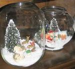 christmas displays in glass jars