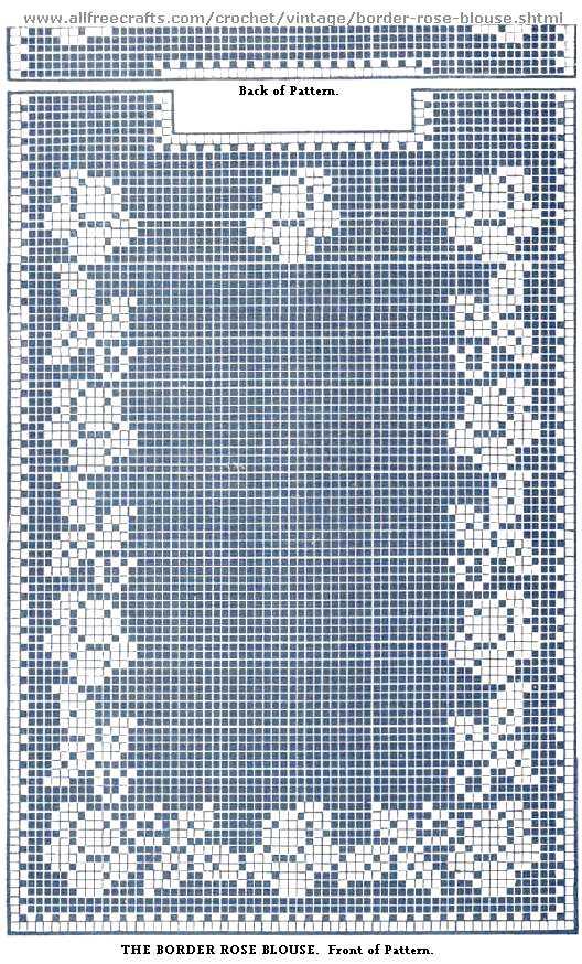 Border Rose Filet Crochet Blouse