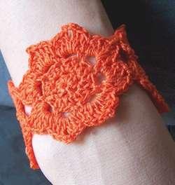 Crocheted Lotus Flower Bracelet or Cuff