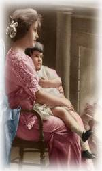 mother and child in vintage crocheted clothes