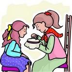 mother teaching child needlework